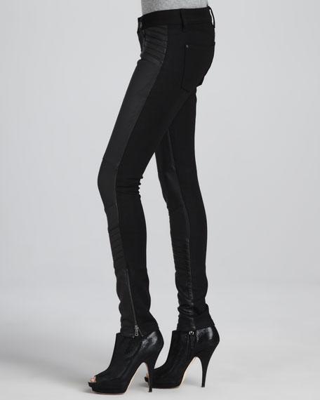 Emma Leather-Front Denim