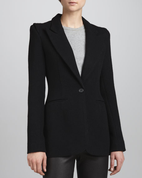 Hourglass One-Button Blazer, Black