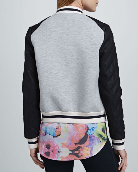 Oblivion Embroidered Combo Bomber Jacket