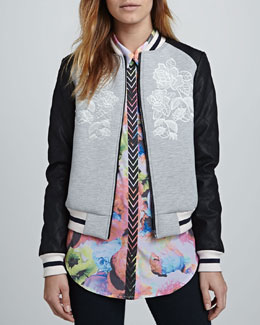 Finders Keepers Oblivion Embroidered Combo Bomber Jacket