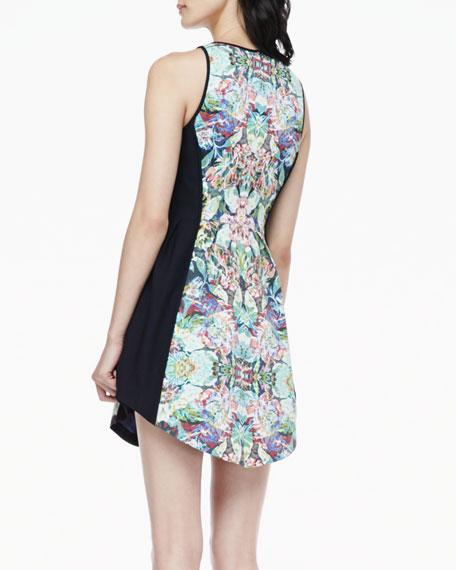 Paneled Floral-Print Dress