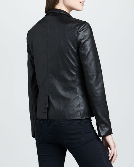 Open-Front Faux-Leather Blazer