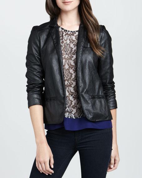 Open-Front Faux-Leather Blazer