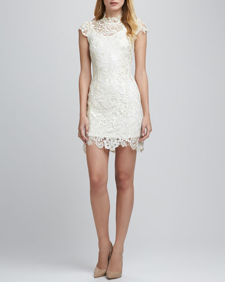High-Neck Lace Dress