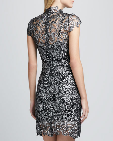 Fitted Metallic Lace Dress