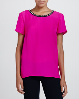 Cusp by Neiman Marcus Crystal-Neck Crepe Top