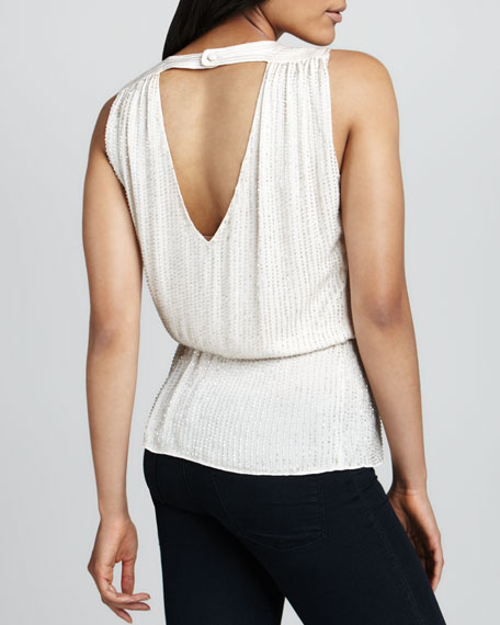 Pearl Beaded Back-Keyhole Top