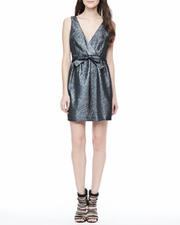 Parker Claudette Metallic Open-Back Dress