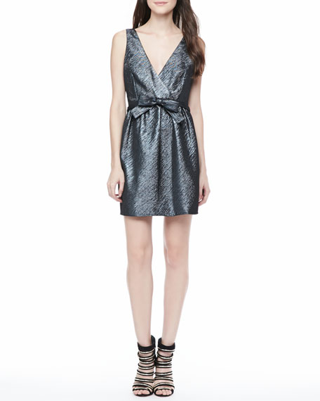 Claudette Metallic Open-Back Dress