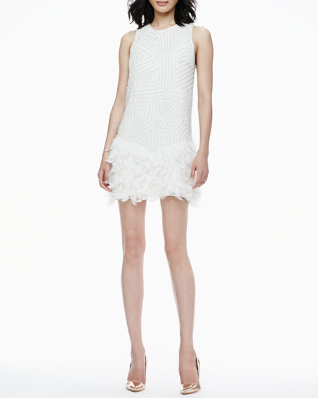 Allegra Feather-Bottom Sequined Dress