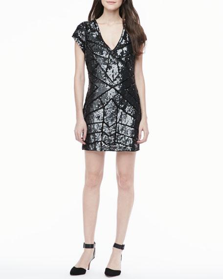 Isabel Sequined V-Neck Dress