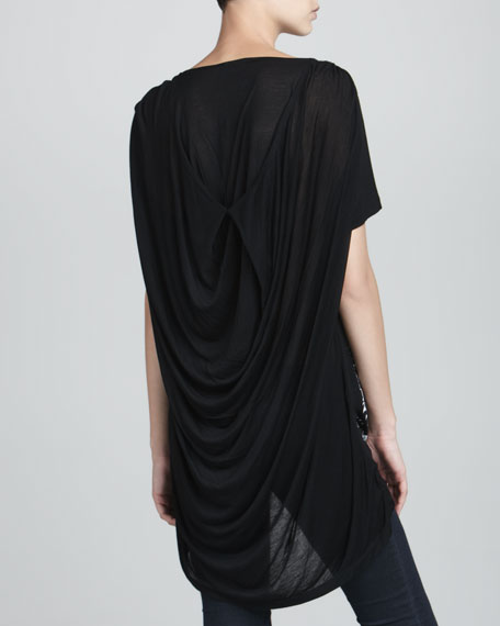Printed Drape-Back Tee