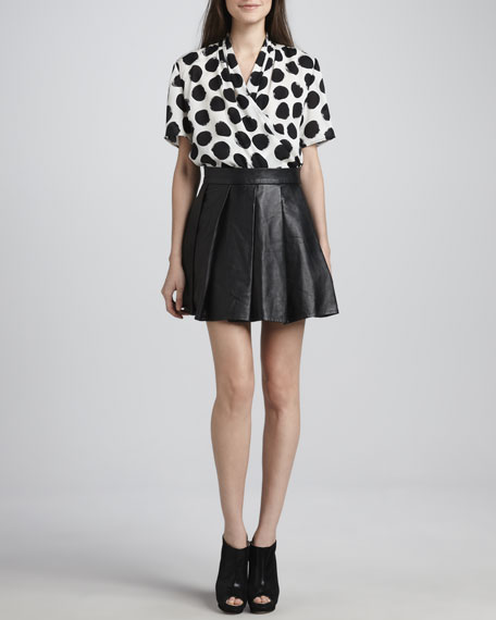 Pleated A-Line Leather Skirt