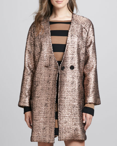 Shimmery Tweed Button Coat