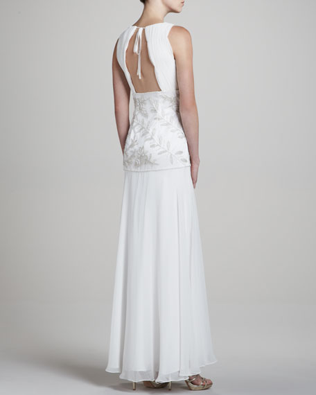 V Neck Sleeveless Embellished Gown
