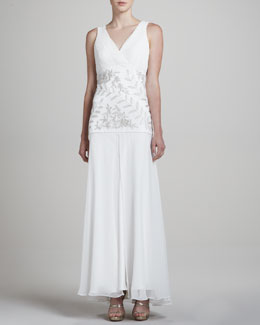 Sue Wong V Neck Sleeveless Embellished Gown