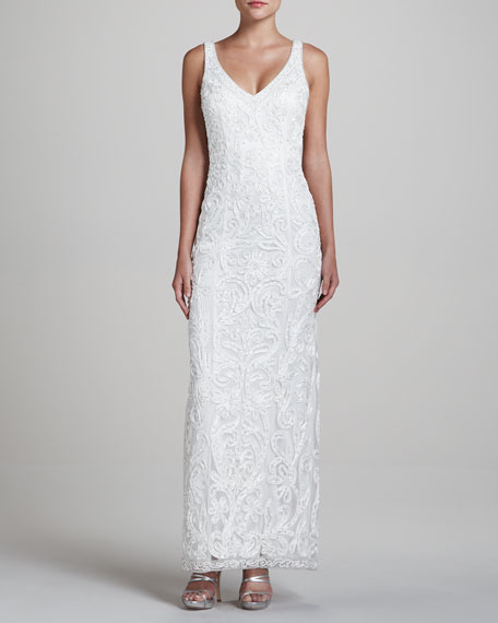 V-Neck Sleeveless Gown with Soutache