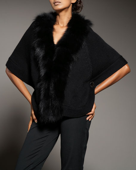 Fur-Trim Knit Cape