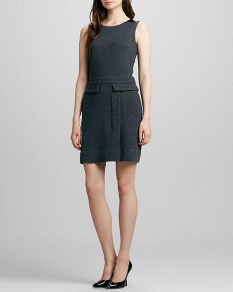 Milly Leather-Shoulder Dress