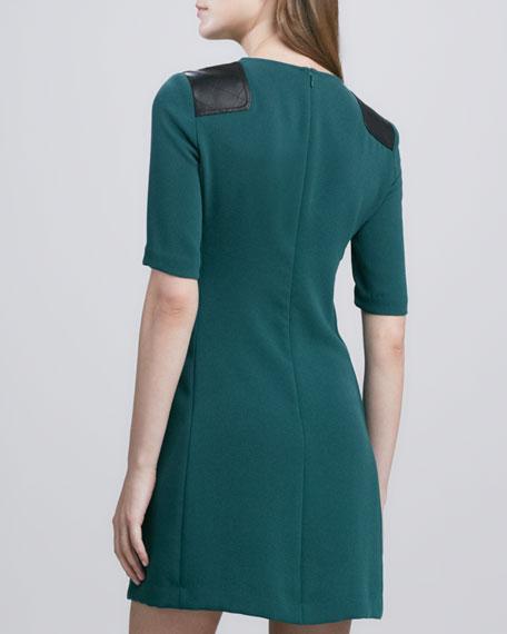 Sparks Leather-Shoulder Dress
