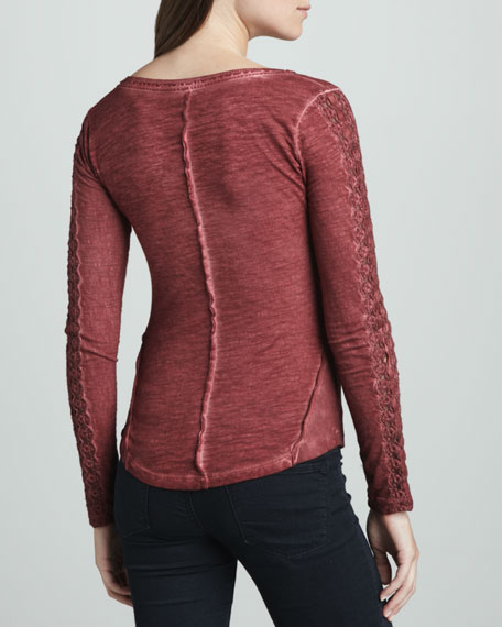 Lace-Sleeve Stitched Henley Shirt