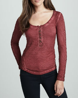 Free People Lace-Sleeve Stitched Henley Shirt