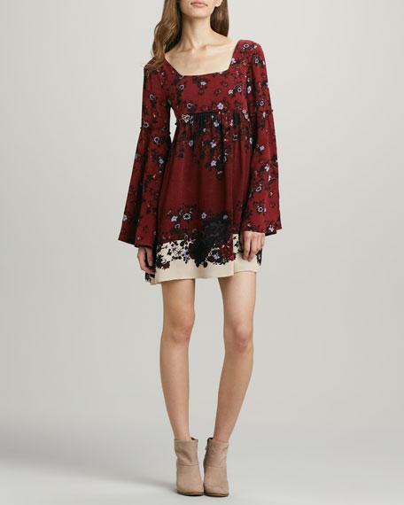 Bell-Sleeve Printed Swing Dress