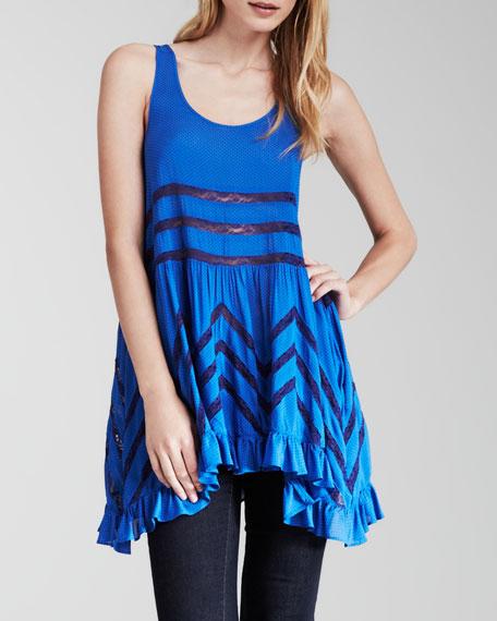 Sleeveless Lace-Striped Trapeze Dress