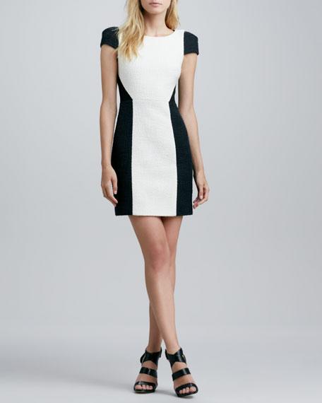 Cap-Sleeve Two-Tone Tweed Dress