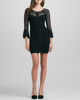 Free People City Girl Fitted Lace-Inset Dress