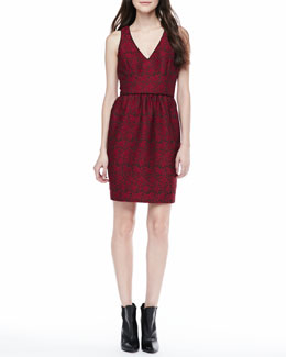 4.collective Sleeveless Lace Jacquard Dress
