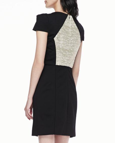 Metallic-Panel Cap-Sleeve Dress