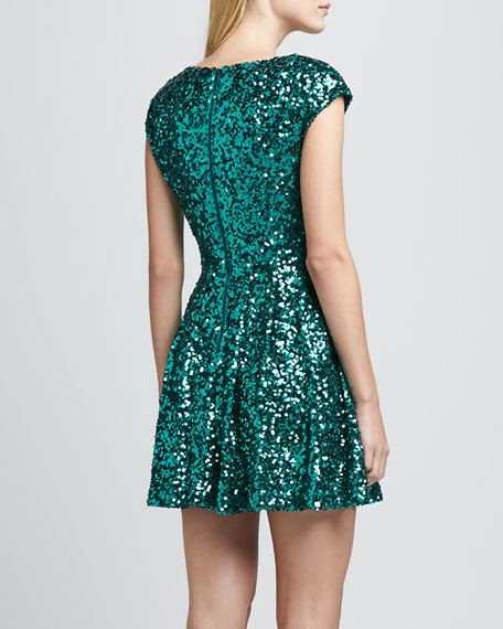 Spectacular Sparkle Cap-Sleeve Dress