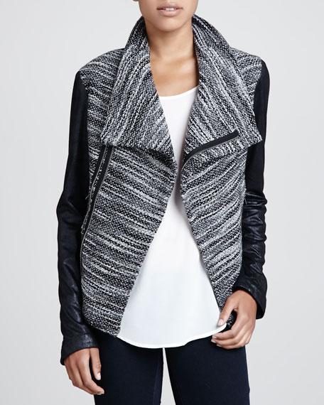 Queensway Leather-Sleeve Tweed Jacket