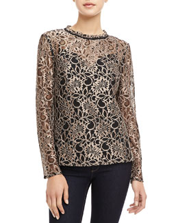 Ted Baker London Nomino Metallic Lace Top
