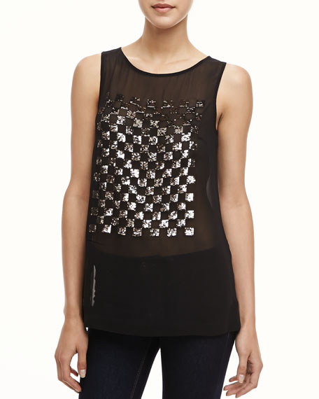 Checkmate Sheer Sequined Top