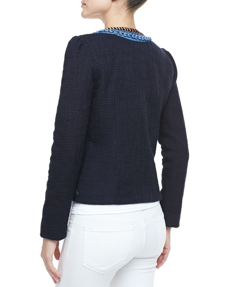 Fringe-Trim Tweed Blazer
