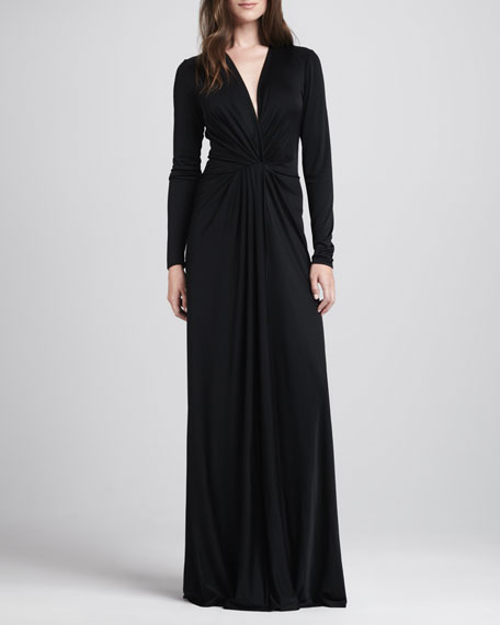 Twist-Front Maxi Gown