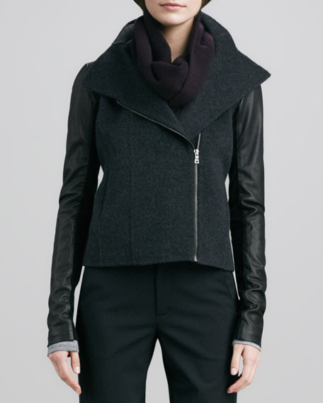 Moto-Inspired Jacket with Leather Sleeves