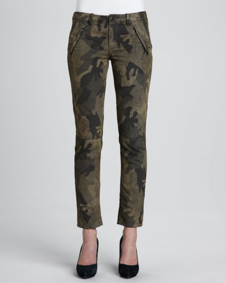 Dayna Camouflage-Print Ankle Pants