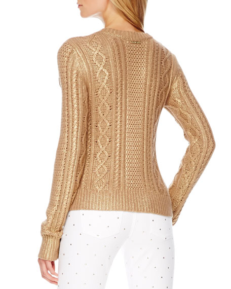 MICHAEL Michael Kors Metallic Cable-Knit Sweater