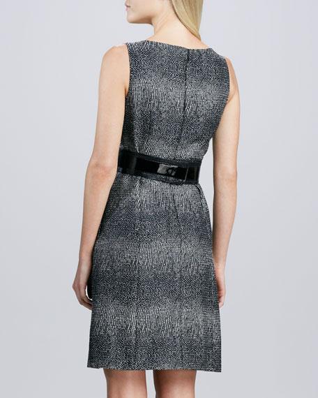 Sleeveless Tweed Belted Dress