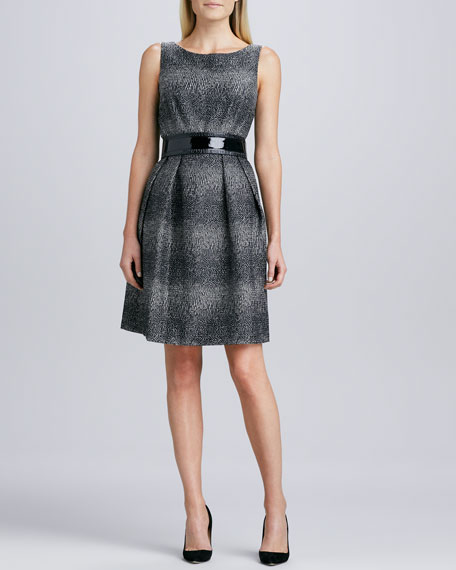 Sleeveless Tweed Belted Dress
