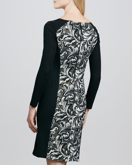 Paneled Printed Sweaterdress