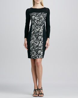Kay Unger New York Paneled Printed Sweater Dress