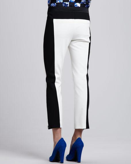 Colorblock Zipper-Cuff Cropped Pants