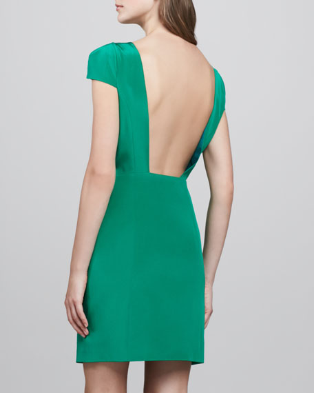 Cap Sleeve Open Back Silk Dress