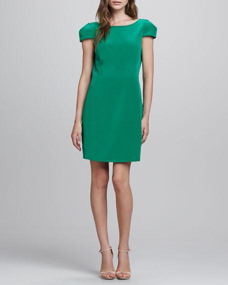 Cap-Sleeve Open-Back Silk Dress