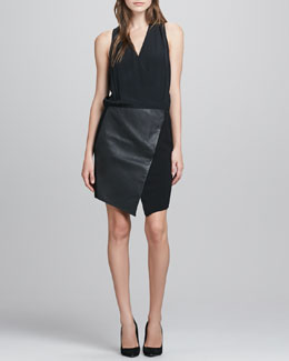 Tibi V-Neck Silk & Leather Combo Dress