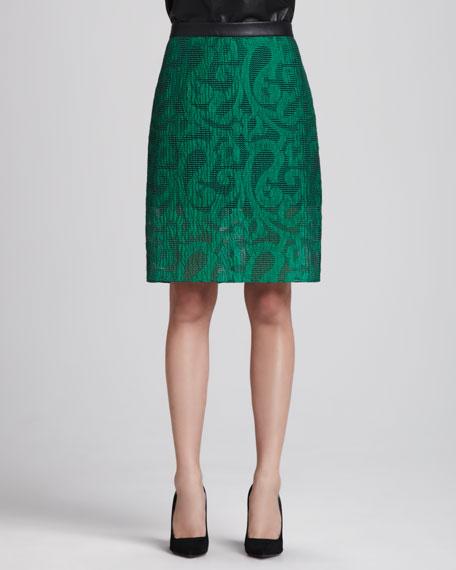 Damask Jacquard Pencil Skirt